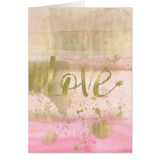 Blush Pink Gold Glam Watercolor Love Card