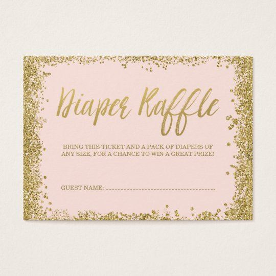 Blush Pink Gold Glitter Diaper Raffle Ticket