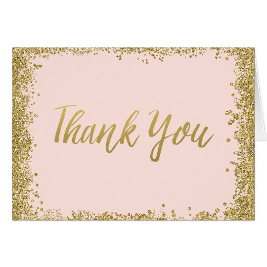 Blush Pink Gold Glitter Thank You Card Zazzle Co Uk