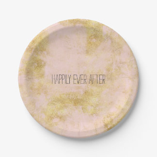 Blush Pink Gold Grunge Paper Plate
