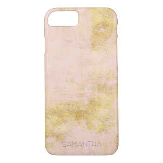 Blush Pink Gold Grunge Personalized iPhone 8/7 Case