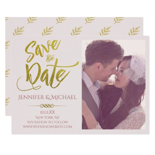 Blush Pink Gold Leaf Photo Save the Date