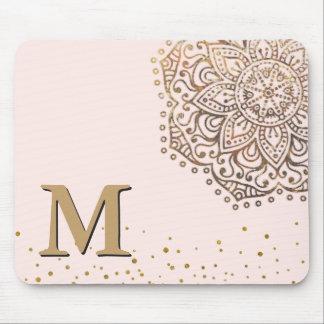 Blush Pink Gold Mandala Boho | Monogrammed Initial Mouse Mat
