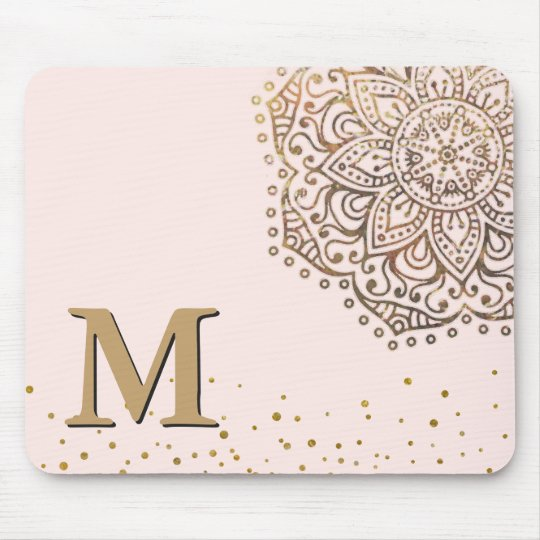 Blush Pink Gold Mandala Boho | Monogrammed Initial