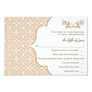 Blush Pink Gold Moroccan Wedding Response Cards 9 Cm X 13 Cm Invitation Card