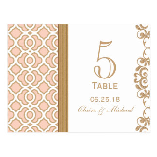 Blush Pink Gold Moroccan Wedding Table Number Postcard