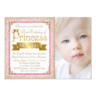 Blush Pink Gold Princess First Birthday Party 13 Cm X 18 Cm Invitation Card