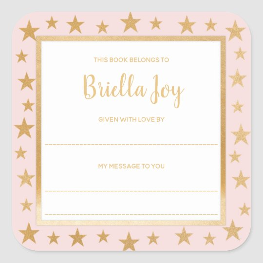 Blush pink gold stars baby shower bookplate square