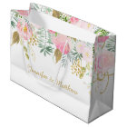 Blush Pink Gold Watercolor Flowers LARGE Gift Bags