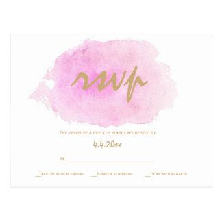 Blush pink & gold wedding rsvp cards