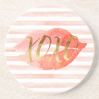 Blush-Pink Gold XOXO Watercolor Kiss Coaster