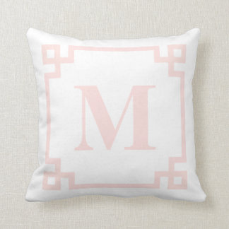 Blush Pink Greek Key Border Monogram Pillow I