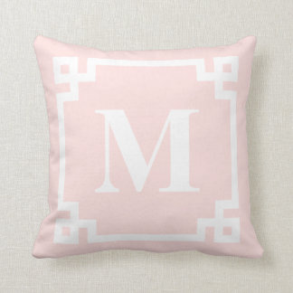 Blush Pink Greek Key Border Monogram Pillow II