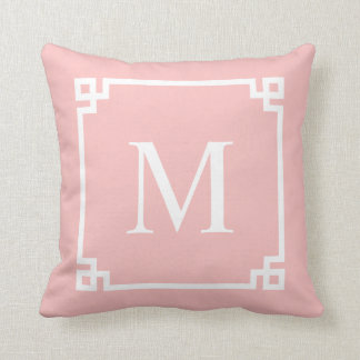 Blush Pink Greek Key Corners | Throw Pillow