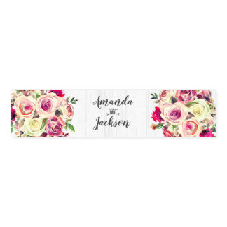 Blush Pink & Green Rose Rustic Wedding Monogram Napkin Band