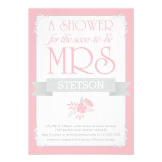Blush Pink Grey Future Mrs Whimsical Bridal Shower Custom Invitation