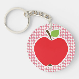 Blush Pink Houndstooth; Apple Double-Sided Round Acrylic Key Ring