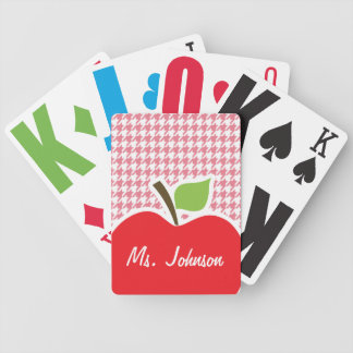 Blush Pink Houndstooth Apple Playing Cards