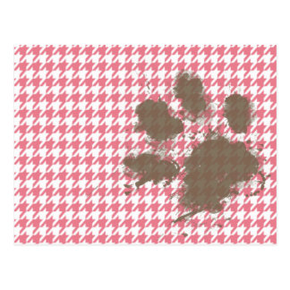 Blush Pink Houndstooth; Paw Print Post Cards