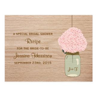 Blush Pink Hydrangea & Mason Jar Bridal Shower Postcard