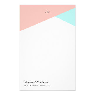 Blush Pink & Icy Blue Monogrammed Stationery