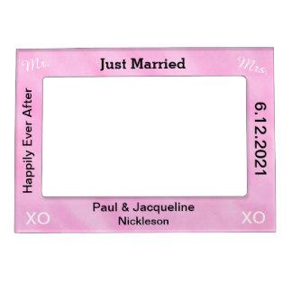 Blush Pink Just Married Wedding Magnetic Frames