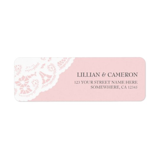 Blush Pink Lace Doily Return Address Labels