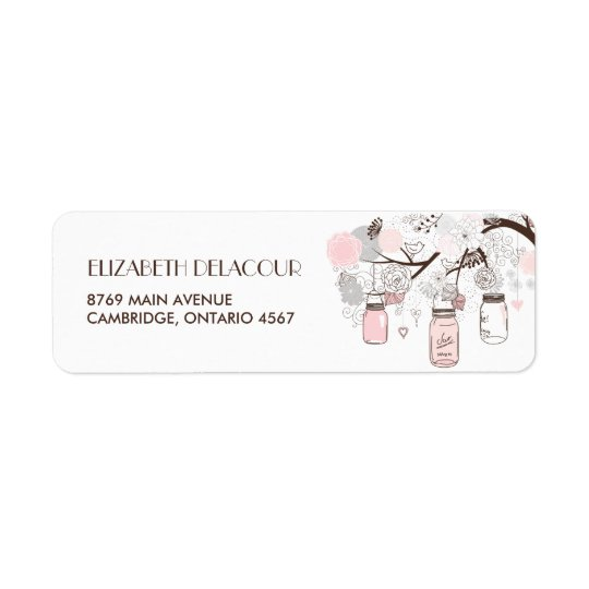 Blush Pink Mason Jars Floral Wedding Address Label