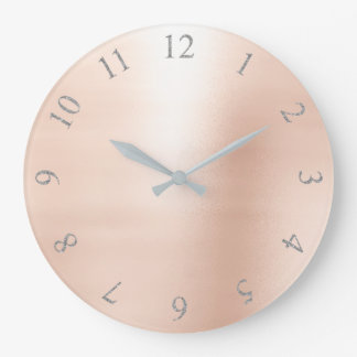 Blush Pink Metallic Silver Gray US UK Numbers Large Clock