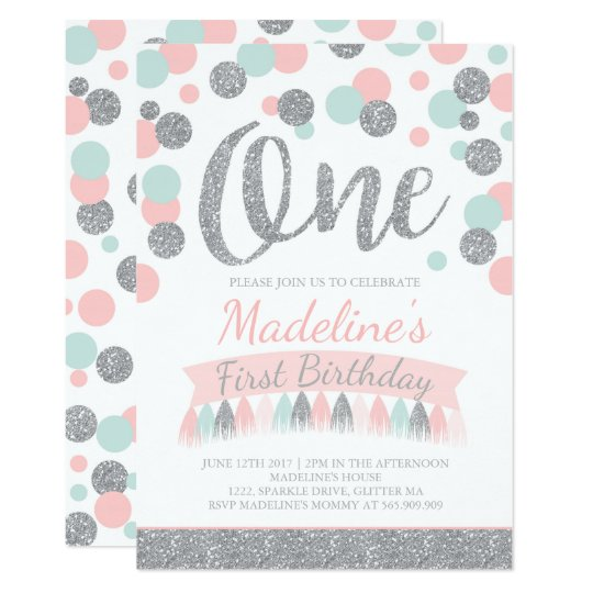 blush pink mint and silver 1st birthday invitation zazzle co uk