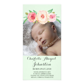 Blush Pink MintThank You Baby Shower Photo Cards