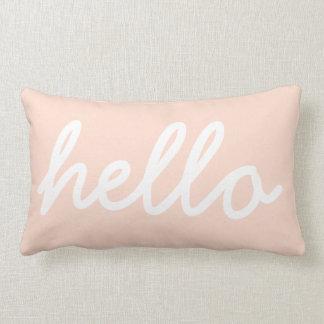 Blush Pink Modern Hello Throw Pillow