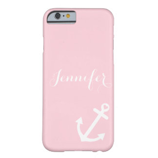 Blush Pink Nautical Anchor Monogram Barely There iPhone 6 Case