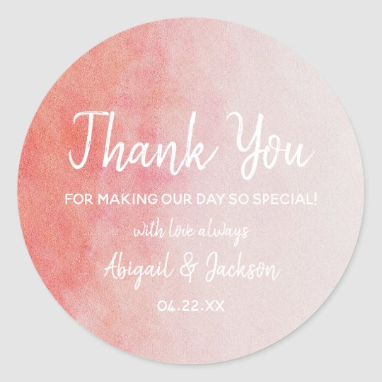 Blush Pink & Peach Watercolor Wedding Thank You