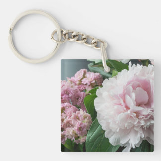 Blush Pink Peonies Single-Sided Square Acrylic Key Ring