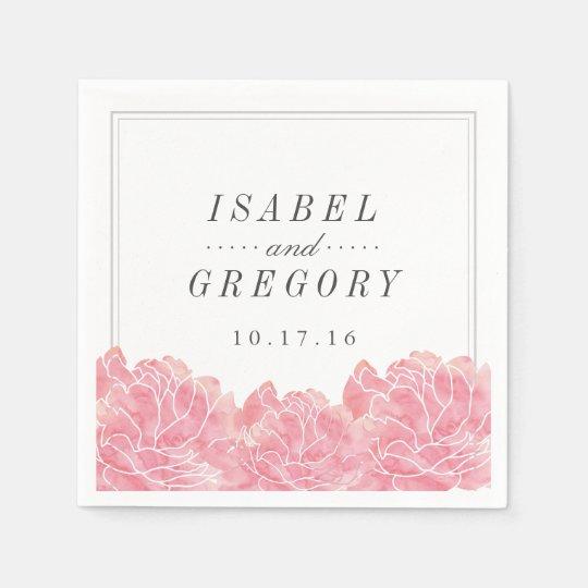 Blush Pink Peonies Wedding Disposable Napkin