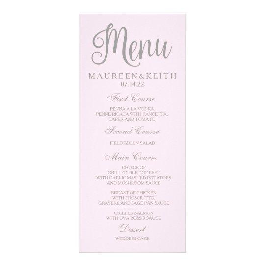 Blush Pink Personalised Wedding Dinner Menu Card