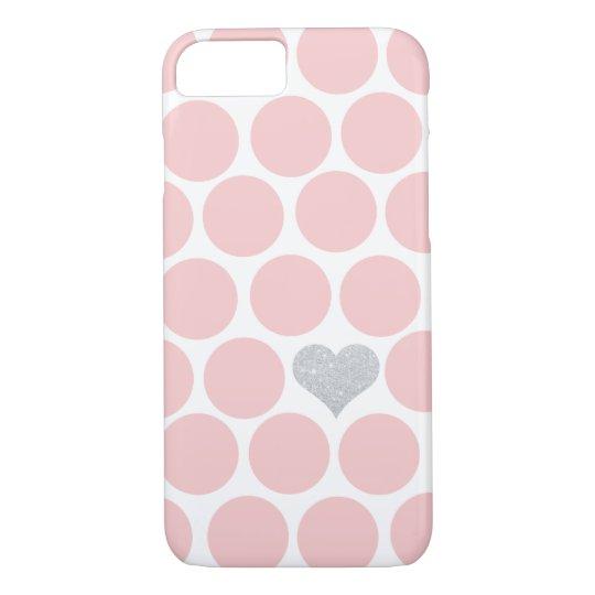 Blush Pink Polka Dots Silver Glitter Heart iPhone