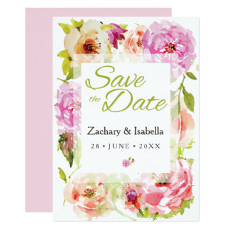 Blush Pink Pretty Flower Save the Date Card