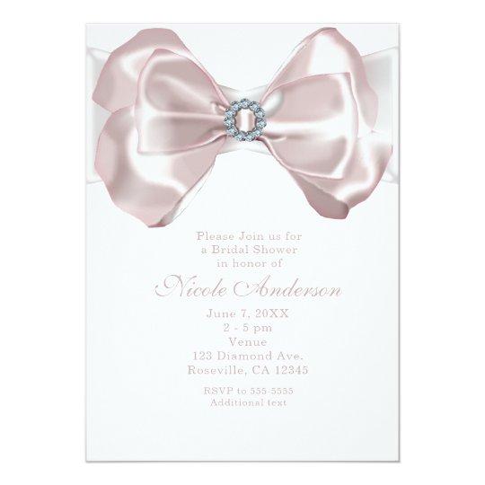 Blush Pink Ribbon Bow & Diamonds Chic Invitations