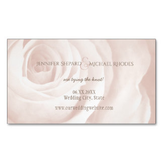 blush pink rose elegant wedding save the date magnetic business cards