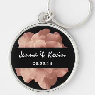 Blush Pink Rose Floral Wedding Gift Collection Silver-Colored Round Key Ring