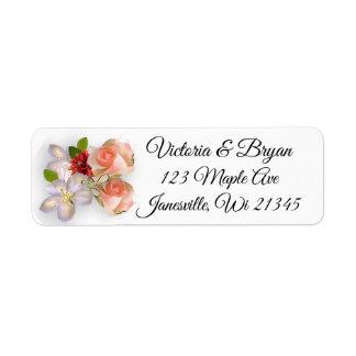 Blush Pink Rose Gold Burgundy Floral Return Label
