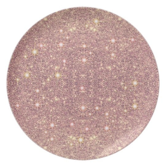Blush Pink Rose Gold Faux Sparkle Plate
