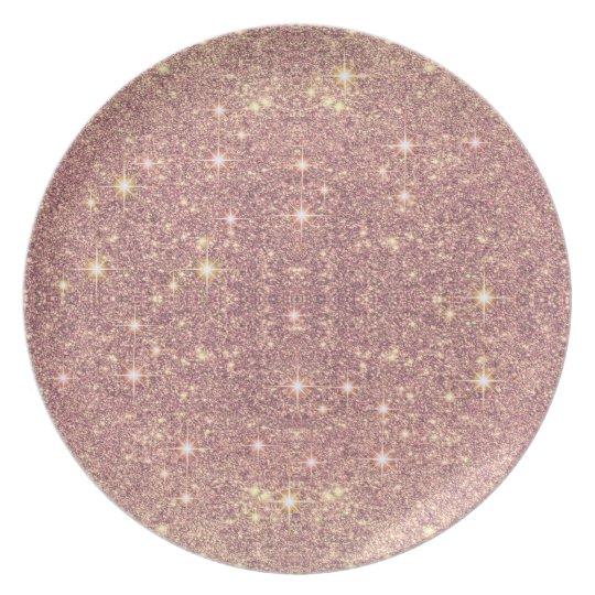 Blush Pink Rose Gold Faux Sparkle Plates