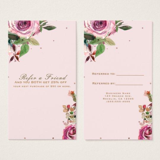 Blush Pink Rose Gold Floral Modern Refer a