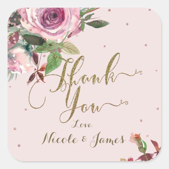 Blush Pink Rose Gold Floral Modern Thank You