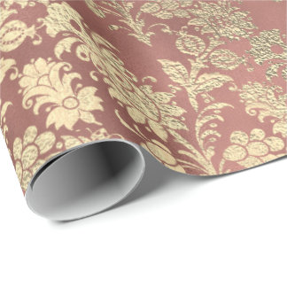 Blush Pink Rose Gold Floral Powder Floral Foxier Wrapping Paper