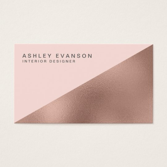 Blush Pink Rose Gold Foil Colorblock Elegant Business