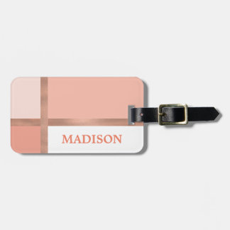 Blush Pink Rose Gold Foil Stripe Color Block Luggage Tag